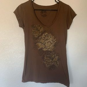 Stranded T-shirt with flowers